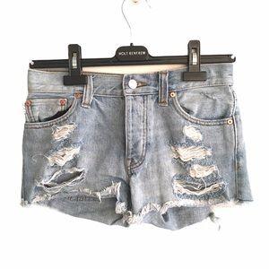 ARITZIA Talula Cut Off Denim Shorts Destroyed 25